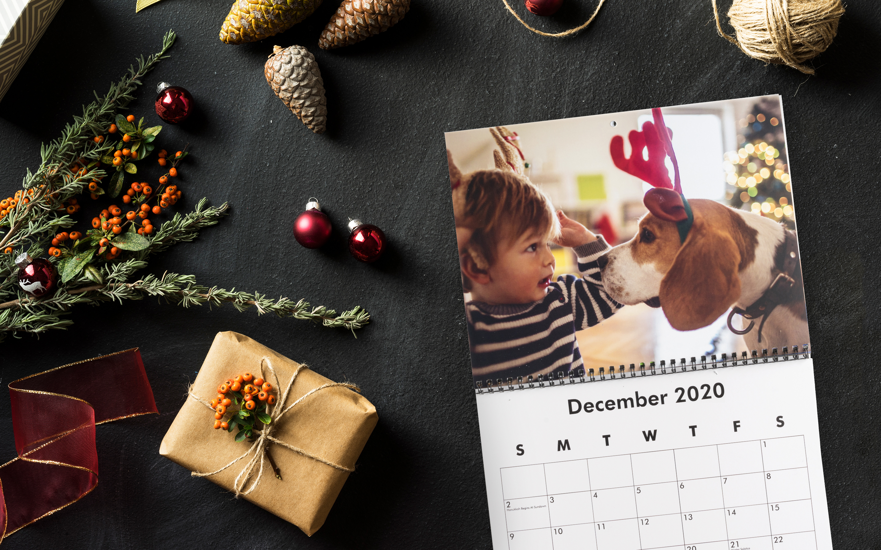 Calendar with photo of baby boy and basset hound