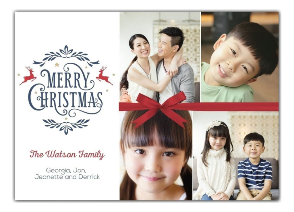 Merry Christmas card with 4 photos of mom, dad, and two young kids
