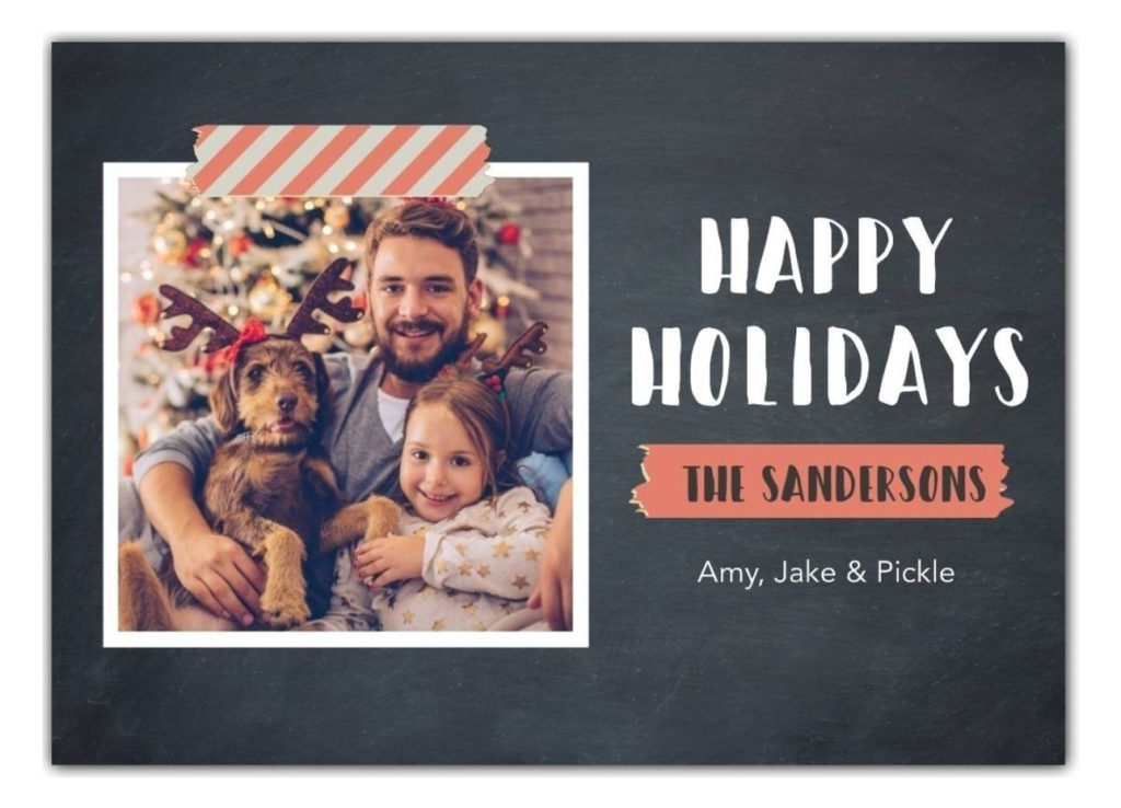 Happy Holidays card with photo of man with daughter and dog