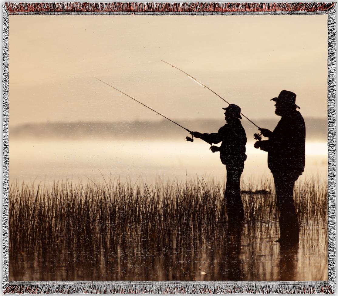 Woven photo blanket with picture of fishermen silhouettes | Gifts for Him