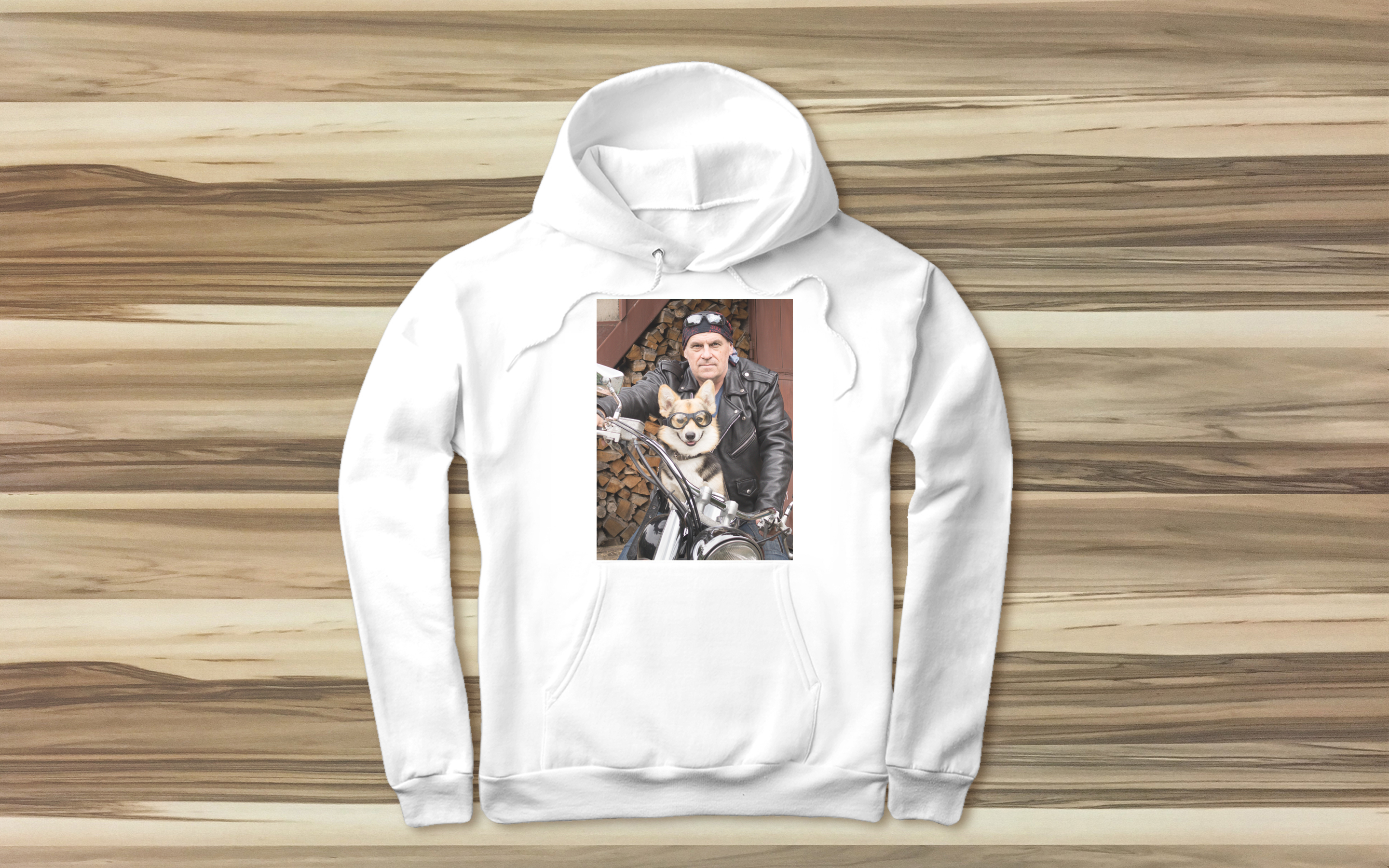 White hoodie with photo of man and dog on motorcycle | Gifts for Him