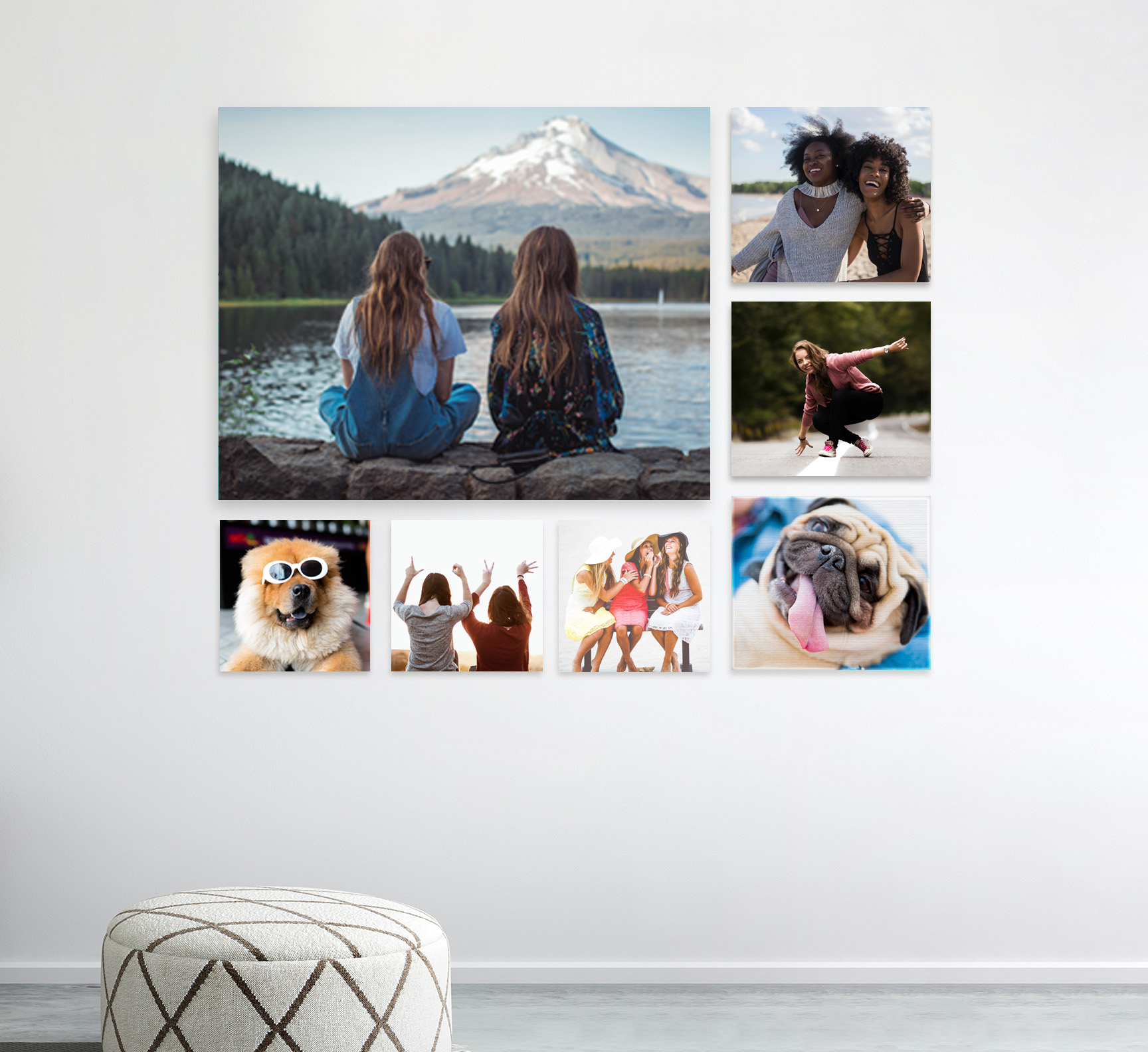 Square canvas prints on a white wall