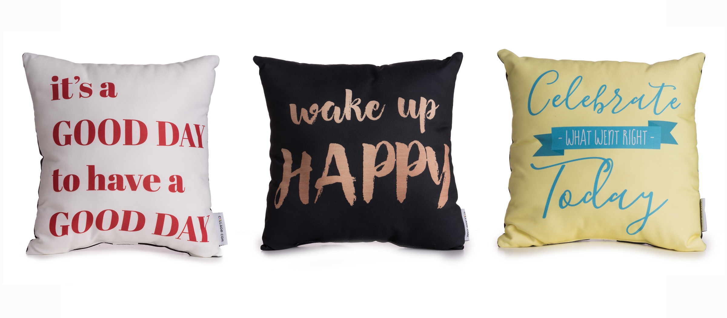 3 pillows with positive messages