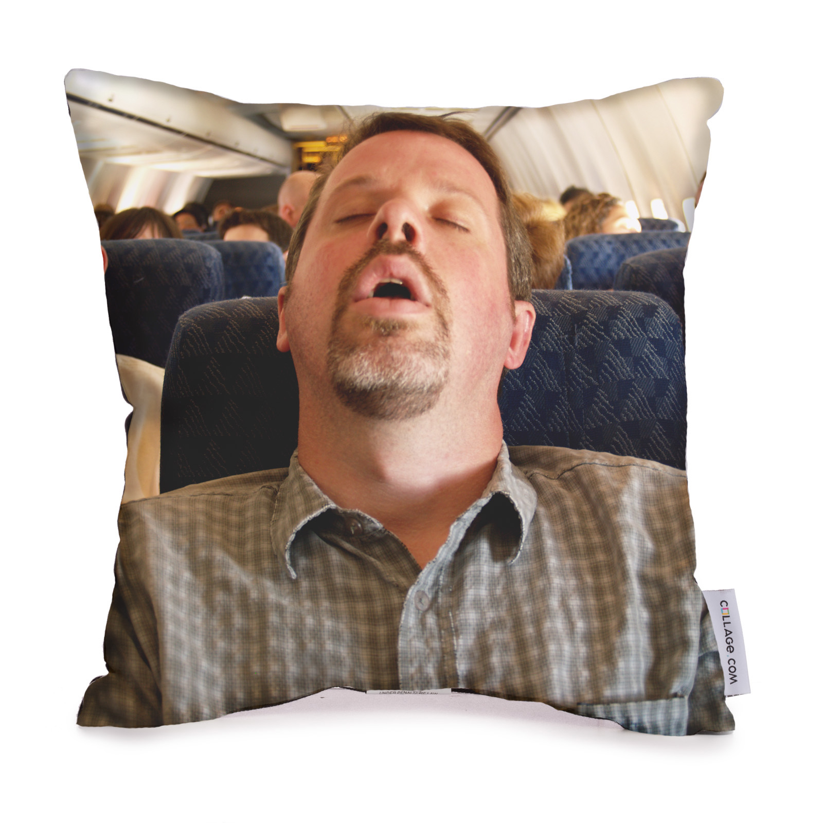 Photo pillow with picture of man sleeping